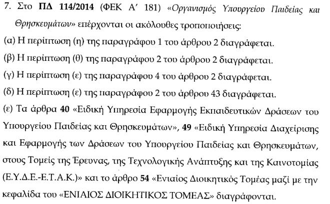 Το τμήμα του ΣΝ που αφορά σε τροποποιήσεις του ΠΔ για τον Οργανισμό του Υπ. Παιδείας και Θρησκευμάτων